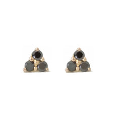 14K Gold Triple Black Diamond Trinity Cluster Stud Earrings
