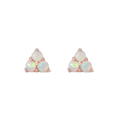 14K Gold Triple Opal Cabochon Trinity Cluster Stud Earrings