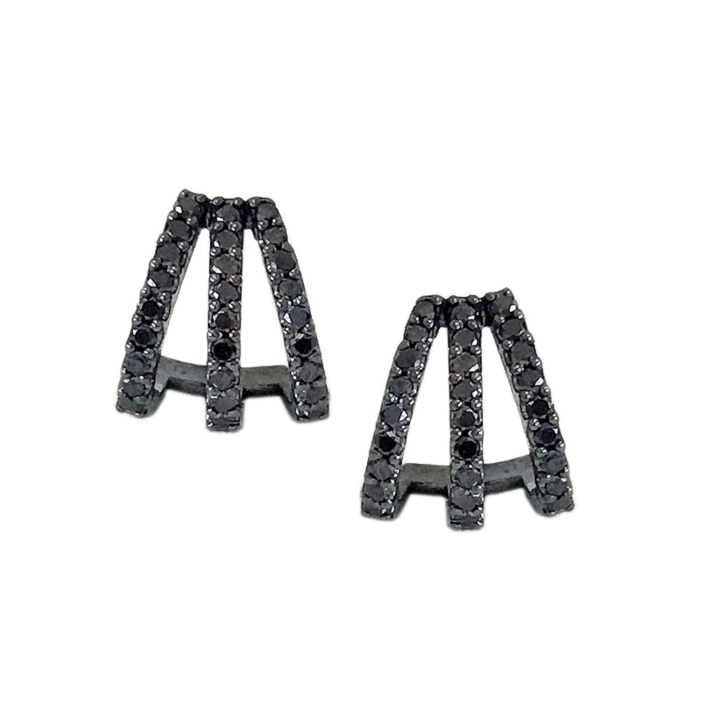 14K Gold Pavé Black Diamond 3 Row Hoop Stud Earrings