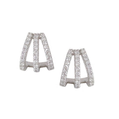 14K Gold Pavé Diamond 3 Row Hoop Stud Earrings