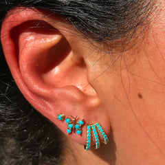 14K Gold Pavé Turquoise Gemstone 3 Row Hoop Stud Earrings