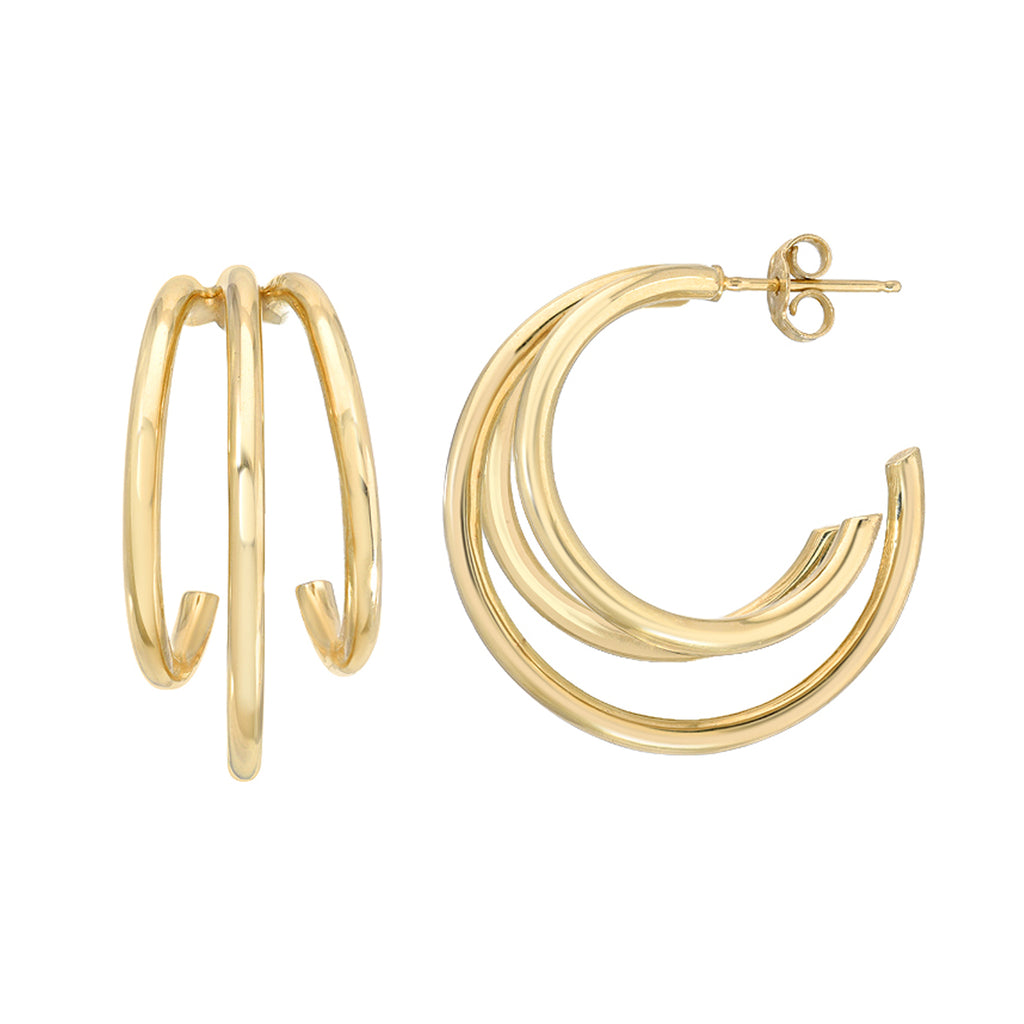 14K Gold Triple XL Hoop Stud Earrings