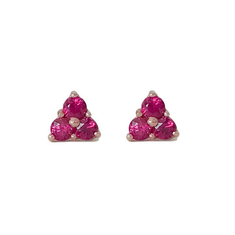 14K Gold Triple Ruby Trinity Cluster Stud Earrings ~ In Stock!
