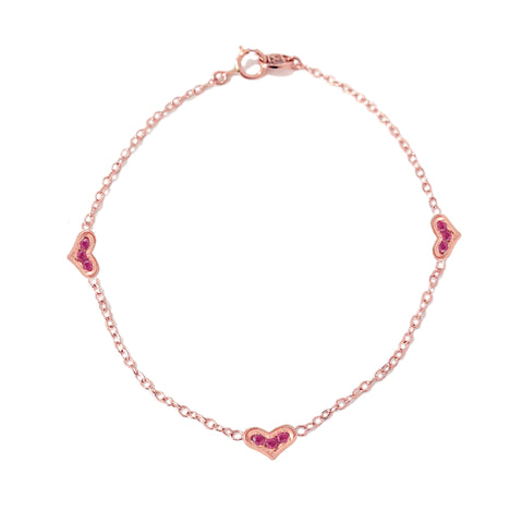 14K Gold & Pavé Ruby Triple XS Sweetheart Bracelet