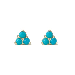 14K Gold Triple Turquoise Cabochon Trinity Cluster Stud Earrings