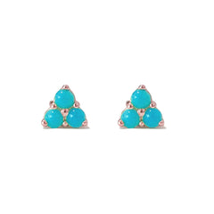 14K Gold Triple Turquoise Cabochon Trinity Cluster Stud Earrings ~ In Stock!