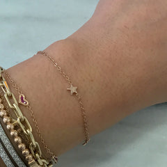 14K Gold Triple Star Bracelet