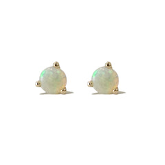 14K Gold Solitaire 3mm Opal Cabochon Martini Stud Earrings