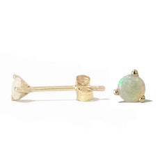 14K Gold Solitaire 3mm Opal Cabochon Martini Stud Earrings ~ In Stock!