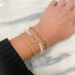 14K Gold Thick Flat Oval Rolo Link Bracelet, Small Size Links