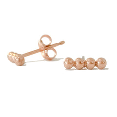 14K Gold Dotted Ball Bar Stud Earrings ~ In Stock!