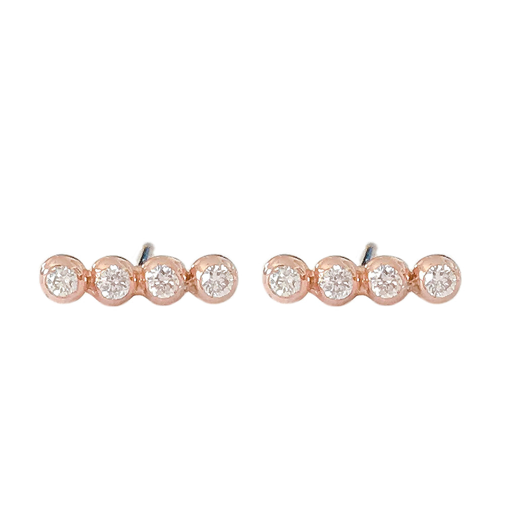 14K Gold & Diamond Dotted Ball Bar Stud Earrings