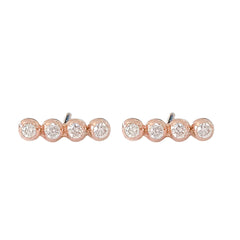 14K Gold Diamond Dotted Ball Bar Stud Earrings ~ In Stock!