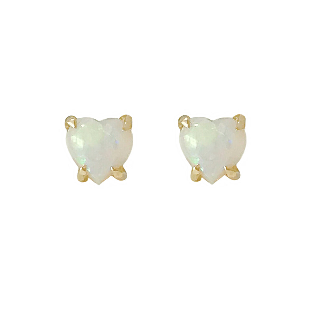 14K Gold Solitaire Opal Heart Cabochon 4 Prong Stud Earrings