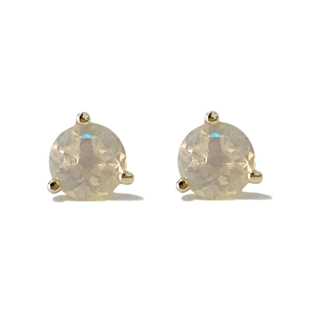 14K Gold Solitaire 5mm Opal Martini Stud Earrings