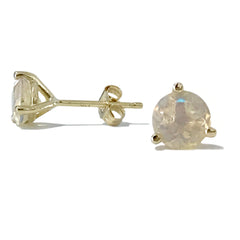 14K Gold Solitaire 5mm Opal Martini Stud Earrings ~ In Stock!