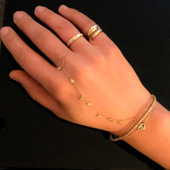 14K Gold 7 Diamond Fringed Finger Bracelet