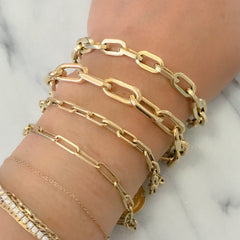 14K Gold Thin Elongated Oval Link Bracelet, Large Size Links