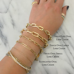 14K Gold Thin Elongated Oval Link Bracelet, Large Size Links ~ In Stock!