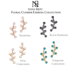 14K Gold & Opal Cabochon Floral Climber Earrings