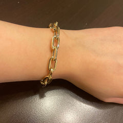 14K Gold Thick Oval Link Bracelet ~ Large Links, In Stock!