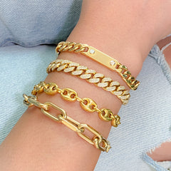 14K Gold Puffy Mariner Anchor Link Bracelet, 7.5mm Size Links ~ In Stock!