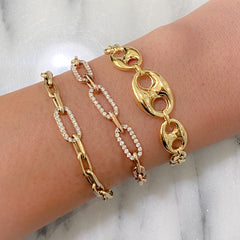 14K Gold Puffy Mariner Anchor Link Bracelet, Graduated Links