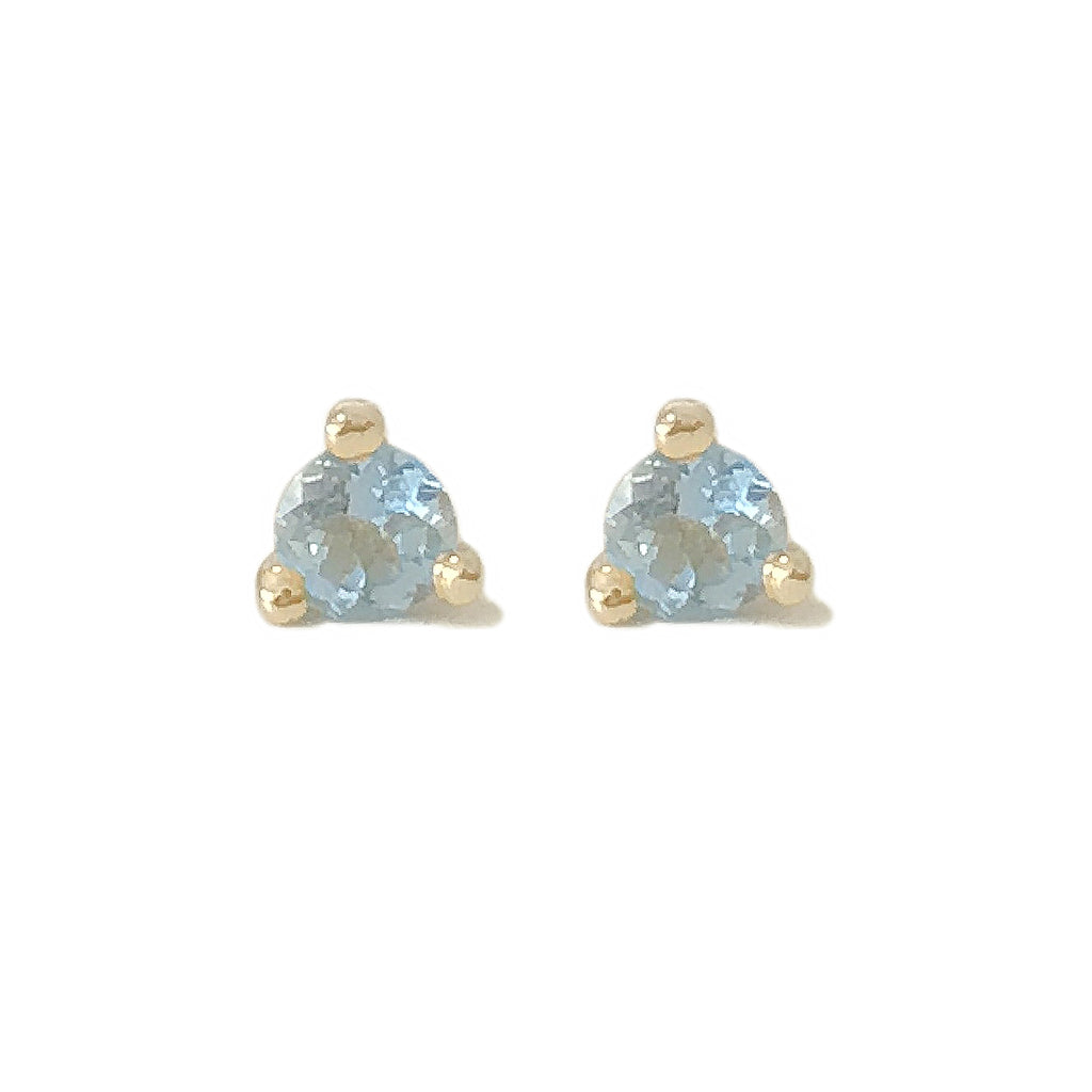 14K Gold Solitaire 3mm Aquamarine Martini Stud Earrings ~ In Stock!