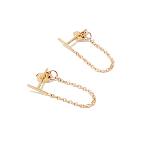 14K Gold XS Bar Chain Dangle Stud Earrings