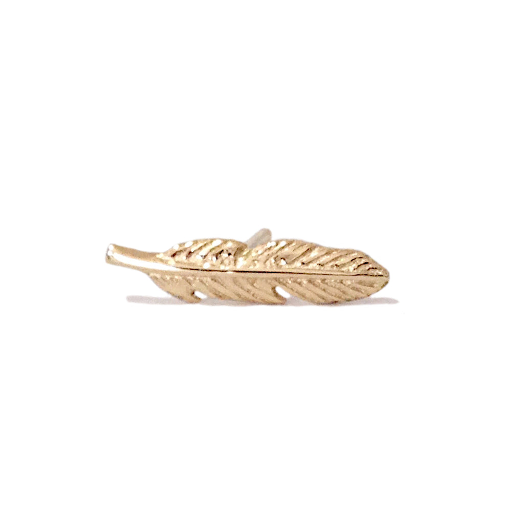 14K Gold XS Feather Stud Earring