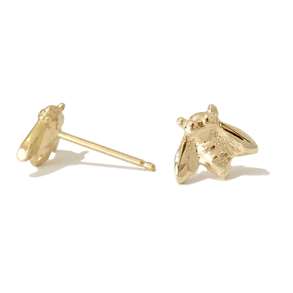 14K Gold Bumblebee Stud Earrings ~ In Stock!
