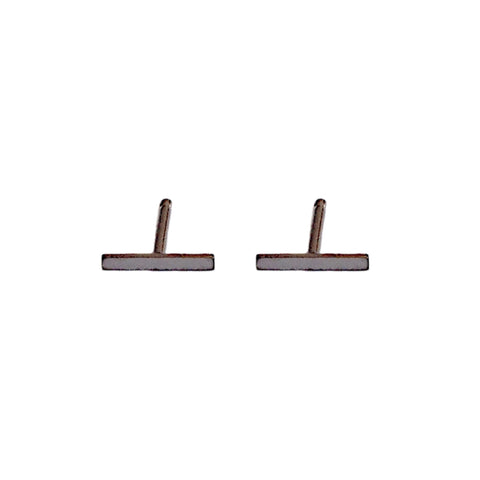 14K Gold & Black Rhodium XS Bar Stud Earrings