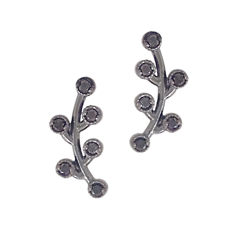 14K Gold & Black Diamond Floral Climber Earrings