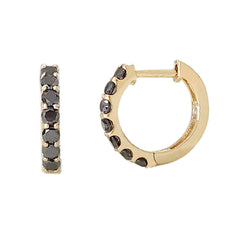 14K Gold Black Diamond Thick Huggie Hoop Earrings (11.5mm x 8.25mm)