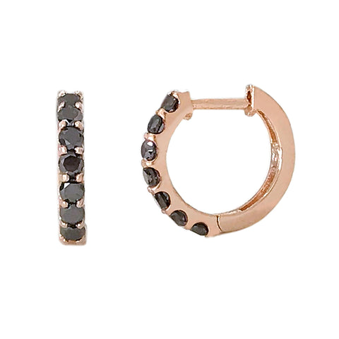 14K Gold & Black Diamond Thick Huggie Hoop Earrings (11.5mm x 8.25mm) ~ In Stock!