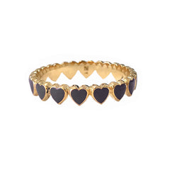 14K Gold Black Enamel Eternal Heart Ring