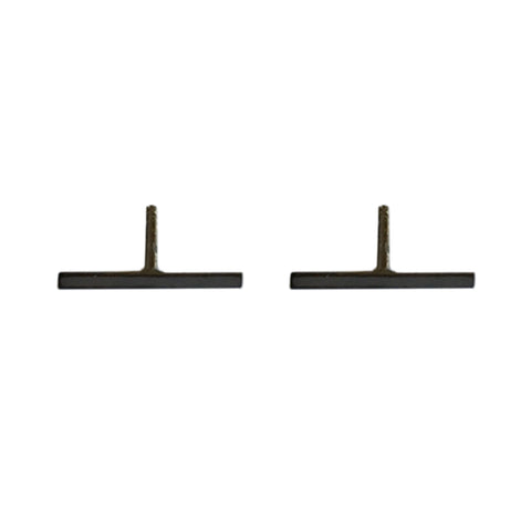14K Gold & Black Rhodium Small Bar Stud Earrings