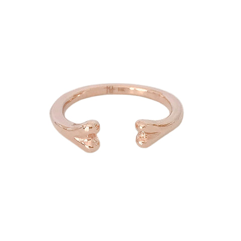 14K Gold Bone Shaped Open Stack Ring