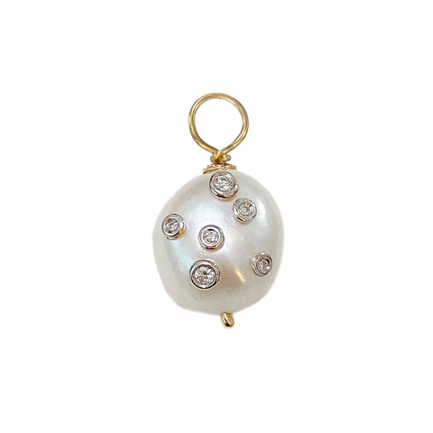 14K Gold Celestial Diamond Baroque Freshwater Cultured Pearl Pendant