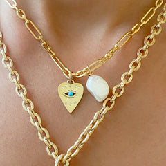 14K Gold 8 Diamond Detail Evil Eye Heart Medallion Necklace, with Turquoise Center-Stone ~ In Stock!