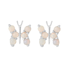 14K Gold Opal Cabochon Butterfly Stud Earrings