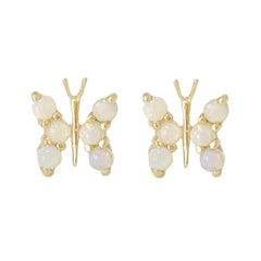 14K Gold & Opal Cabochon Butterfly Stud Earrings