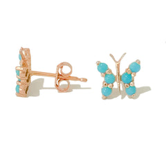 14K Gold Turquoise Cabochon Butterfly Stud Earrings