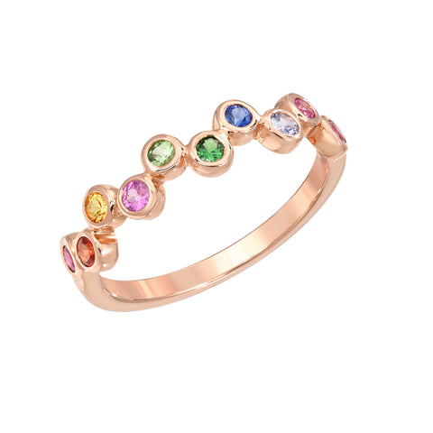 14K Gold Bezel Rainbow Gemstone Half Eternity Band