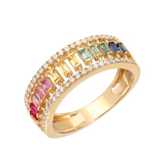 14K Gold Pavé Diamond & Rainbow Baguette Half Eternity Caged Band, One Of A Kind LIMITED EDITION