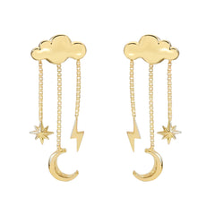 14K Gold Celestial Cloud Stud Earrings