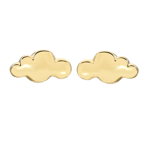 14K Gold Cloud Stud Earrings
