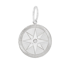 14K Gold Diamond Compass Medallion Necklace