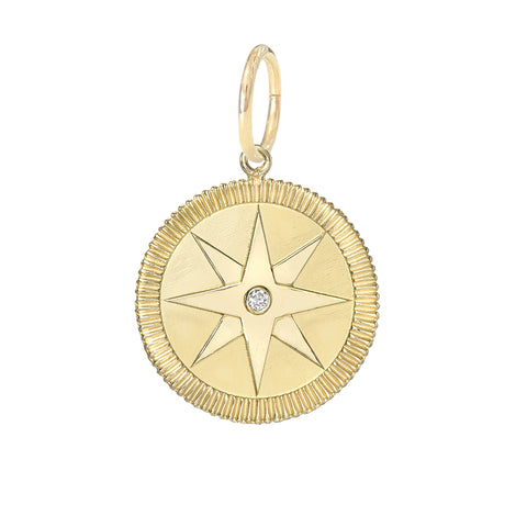 14K Gold Diamond Compass Medallion Necklace ~ In Stock!