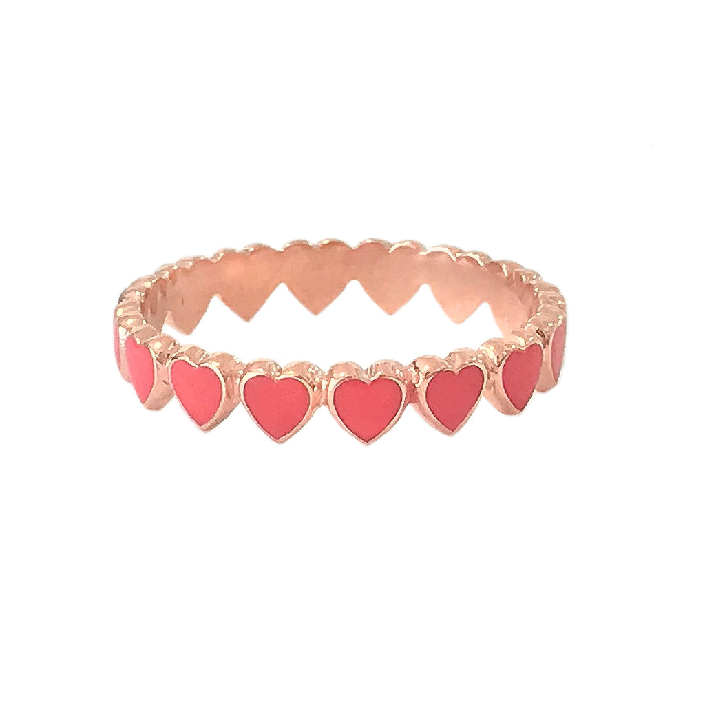 14K Gold Coral Red Enamel Eternal Heart Ring